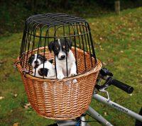 Hundcykelkorg i pil med galler | Max 5kg
