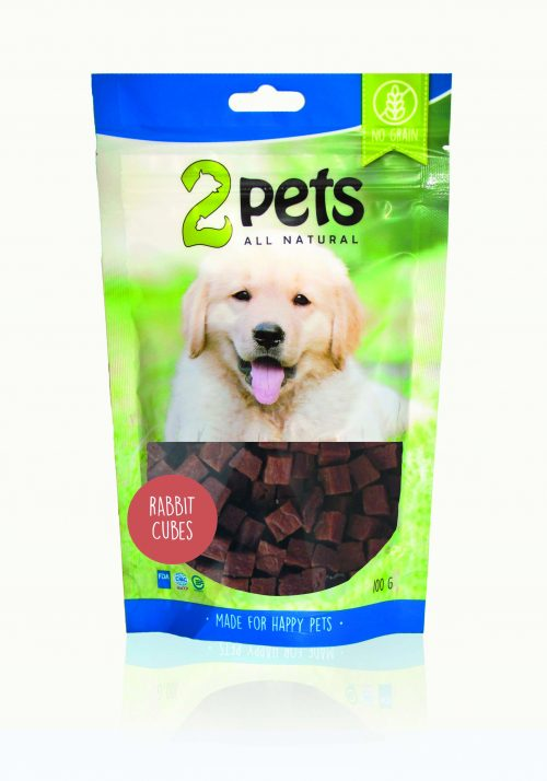 2pets Dogsnack Kanin Cubes   100g