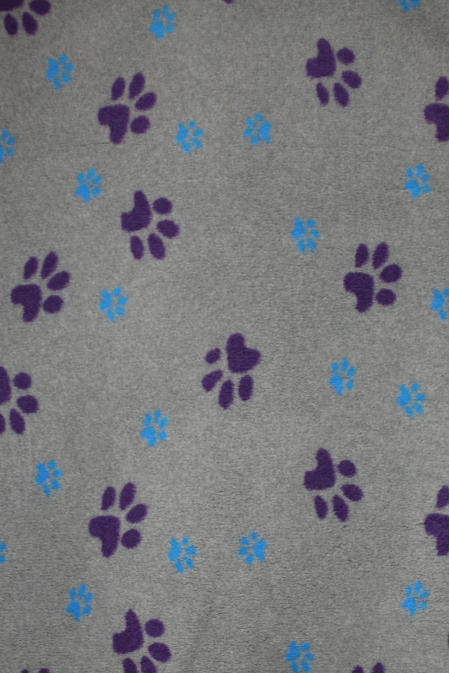 Hundfäll | Vetbed - Dogfeet Ljusgrå med Mörklila & Aqua Tassar